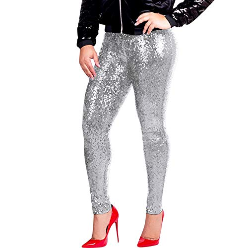 (SMALLE_Clothing Clubwear Pants for Women,SMALLE◕‿◕ Women Plus Size Sequin Slim Leggings Glitter High Waisted Stretchy Pants Silver)