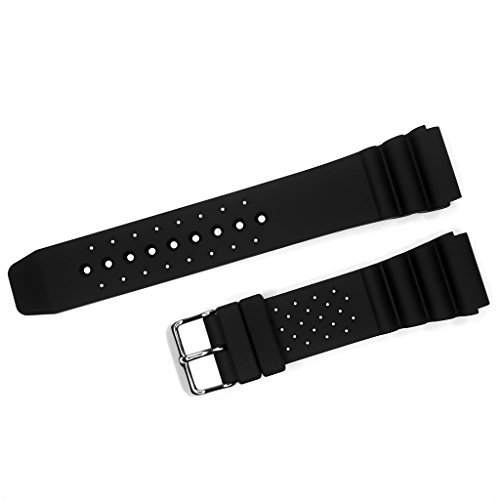 IVAPPON Black Silicone Sport Strap 18mm 20mm 22mm Soft Rubber Watch Bands (22mm) ()
