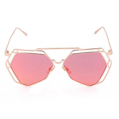 Vovotrade Women Twin-Beams Geometry Design Women Metal Frame Mirror Sunglasses Cat Eye Glasses (Red, - Sun Glasses Design