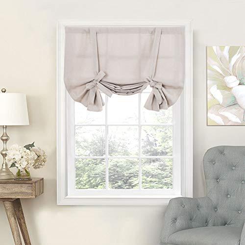 Look Linen Window - Tie Up Valances for Kitchen Windows Vintage Linen Look Room Darkening Tie-up Valance Curtains Rod Pocket Adjustable Tie Up Shades for Windows (1 Panel,Beige, 54-Inch)