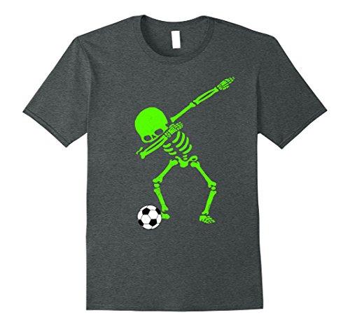 Mens Halloween Dabbing Skeleton Soccer Ball T-Shirt Skele...