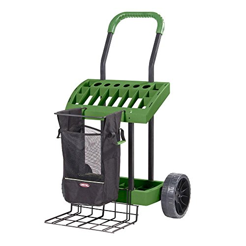 SuperDuty Lawn & Garden ToolBox on Never Flat Wheels & 120 Lb. Capacity Lift Plate-Made In USA - Organize & Store Lawn & Garden Tool Garage Storage Rack & Yard Cart Garden Wheelbarrow Wagon (SD490)