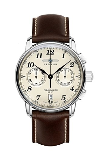 Zeppelin Series LZ127 Men's Chronograph Watch Beige Dial Brown Strap 7678-5