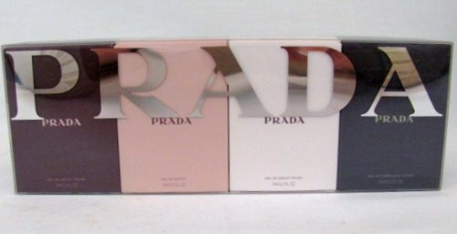 (Prada Collection 4 Piece Miniature Set: Prada 7ml Edp, Prada Intense 7ml Edp, Prada Tendre 7ml Edp, Prada Pour Homme 9ml)