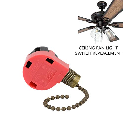 Hunter Zing Ear ZE-268S1 3 speed 4 wire, Ceiling Fan Switch, Use for ceiling fans,lamps and wall lights (Bronze Pull Chain) -  RICHARDSON ANOINTING HANDS INC, 268S1-BRONZE-4