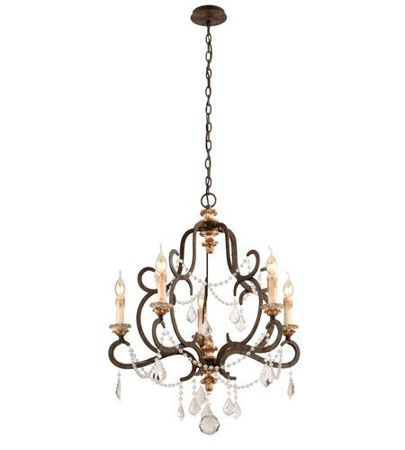 Chandeliers 5 Light with Parisian Bronze Finish Hand-Worked Iron and Wood Material Candelabra 33 inch Long 300 Watts
