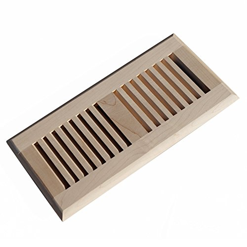 WELLAND 4 Inch x 10 Inch Maple Hardwood Vent Floor Register Self Rimming (Maple Louvered Register)