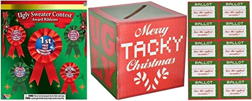 Ugly Sweater Party Supplies - Ballot Box, Ballots and 5 pc Prize Award Ribbons - set