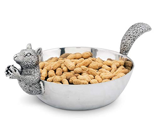 """Arthur Court Designs Aluminum Large Squirrel Head and Tail Nut Bowl 13"""" Long"""
