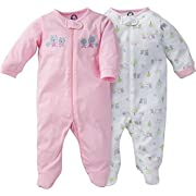 Gerber Baby Girl 2 Pack Zip Up Footie with Embroidered Animals Applique Detail - Sleep N Play (3-6 Months)