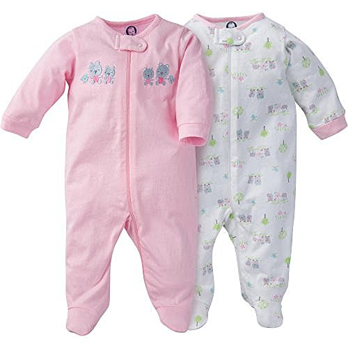Gerber Baby Girl 2 Pack Zip Up Footie with Embroidered Animals Applique Detail - Sleep N Play (0-3 Months)