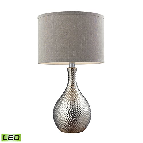 Elk Lighting D124-LED Hammered Chrome Plated LED Table Lamp with Grey Faux Silk Shade