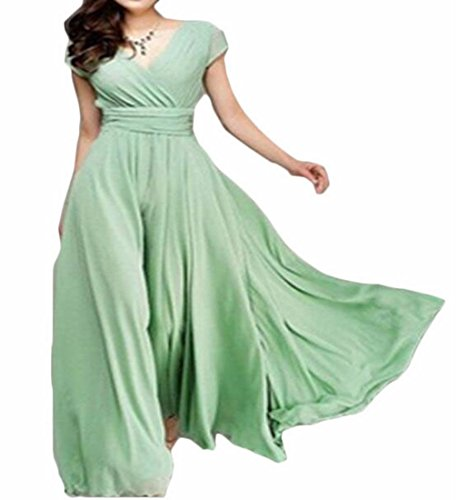 Corta Luce Sexy Jaycargogo Elegante Delle Vestito Manica A Maxi Donne Scollo Verde Vita V Boho 8pAxZ7