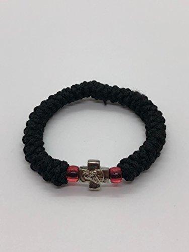 33 Knot Black Wool With Beads Rosary Chaplet Prayer Rope Agios Oros Komboskini With Panagia Child Icon Cross  Greece Monastaries