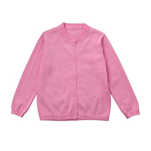 Sharemen Autumn Winter Baby Boys Girls Cardigans Solid Sweaters Knitted Coats Outwear (Pink, 0-6 Months)