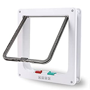 XuSha 4 Ways Locking Cat Flap Door Pet Door Kit for Cats Puppy Small Dogs Pet Safe High Performance ABS (Medium, White) Click on image for further info.