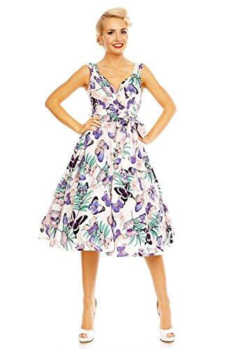Fête Évasé Looking Glam 1950 Années Rétro Vintage Imprimé Rockabilly Robe Gris Papillon qR0cUBqw