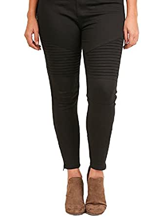 Umgee Washed Motto Jeggings with Pintuck and Zipper Detail (1XL, Black)