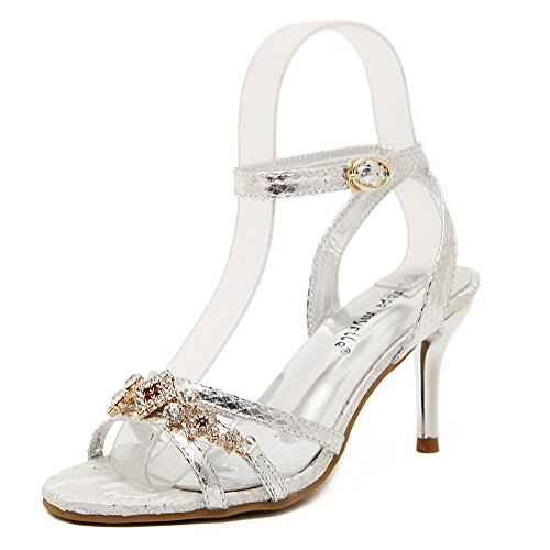 Buckle AmoonyFashion Silver Pu Womens Sandals Womens Stilettos Spikes Solid AmoonyFashion qq0UR