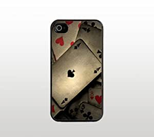 Playing Cards Snap-On Case for Apple iPhone 4 4s - Hard Plastic - Black - Cool Custom Cover - Creative Design