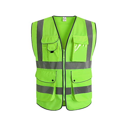 Neon Green Safety Vest - XIAKE Class 2 Reflective Safety Vest with 9 Pockets and Front Zipper High Visibility Safety Vests,ANSI/ISEA Standards(Large,Apple green)