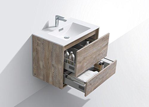 "De Lusso 30"" Nature Wood Wall Mount Modern Bathroom Vanity -  - bathroom-vanities, bathroom-fixtures-hardware, bathroom - 41uBrAkf07L -"