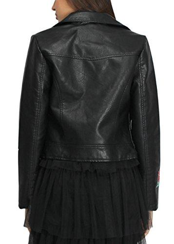 pour PU Manteau femmes florale Manteau cuir Broderie en Veste 1Tq6HwnTRB