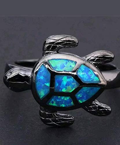 Nitlovely Unique Tortoise White/Blue Fire Opal Wedding Ring Black Gold Turtle Animal Band (8)