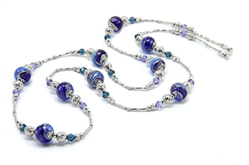 Necklace in 925 silver with Murano glass pearls and Swarovski crystals. CIR013-W02