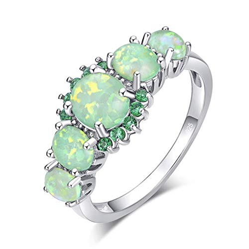 (Ferusshomic Lavish Big Green Fire Opal Stone Filled Rings Silver Plated CZ Zirconia Crystal Bohemia Woman Size 11 12 Silver Green)