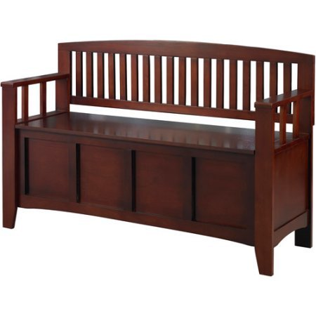 Storage Bench in Walnut Finish Create Added Seating and Storage in Any Space in Your Home Flip-top Lid by AVA Furniture