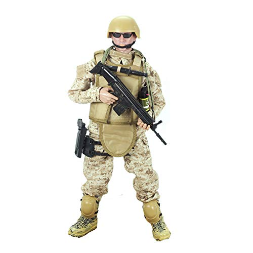 Gi Joe 12' Accessories - 12'' American Military Soldiers Special Forces Army Man Action Figures Play Set-Digital Desert Camouflage