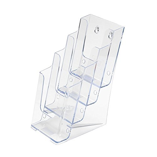 Source One 2-Pack Premium 4 Tier Trifold Brochure Holder Wall Mount (S1-2P-4TTF) - 4 Tier Card Holder