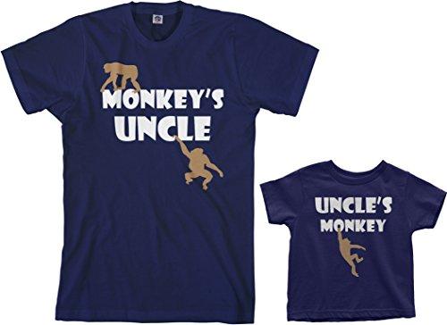 (Threadrock Monkey's Uncle Toddler & Men's T-Shirt Matching Set (Toddler: 2T, Navy|Men's: 3XL, Navy))