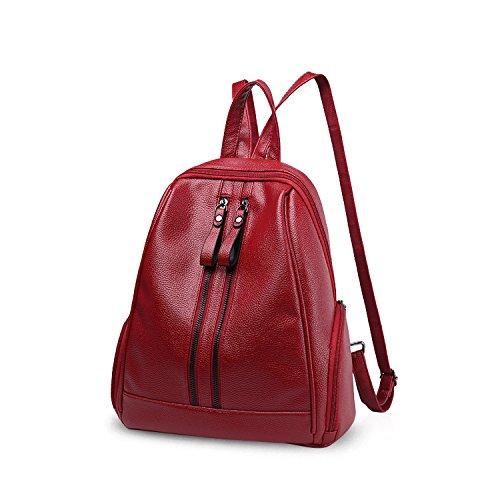 NICOLE&DORIS Moda Bolsa para la escuela Viajar Bolsa de hombro Mochila Bolso Cartera Chicas Mochila PU Cuero Azul Vino Tinto