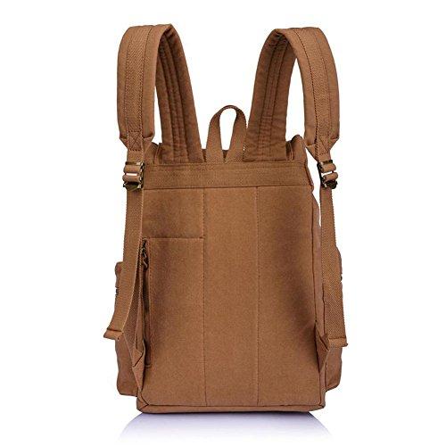 Khaki Rucksack Canvas gray Casual Hiking Vintage Bag Yimidear Schoolbag Backpack Wp6RwnZ