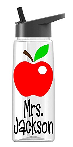 Personalized Sport water bottle Teacher Apple design with name BPA Free 24 oz, clear or colored bottle