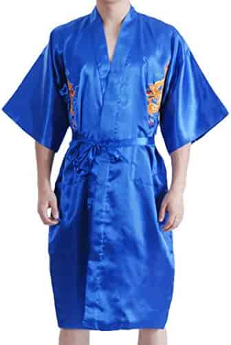0c98bf1e6c KLJR Men Satin Lounge Bathrobe Classic Print Embroidery Kimono Robe  Sleepwear