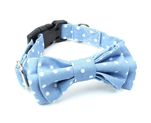 - BCB Wear Dog and Cat Cotton Collar with Bow Tie - Blue with White Polka Dots S
