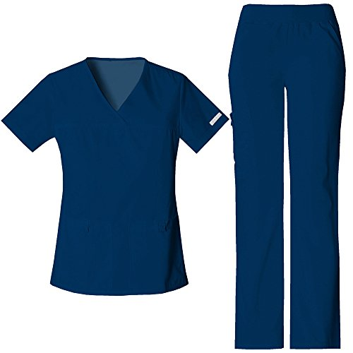 Cherokee Flexibles by Women's V-Neck Scrub Top & Cargo Pant Set Medium Navy