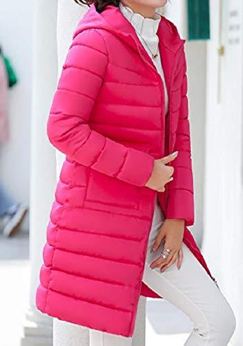 Hooded Up Mid XINHEO Winter Womens Down Coat Casual Jacket Slim Zip Rose Red Long ZxXZEwpIq