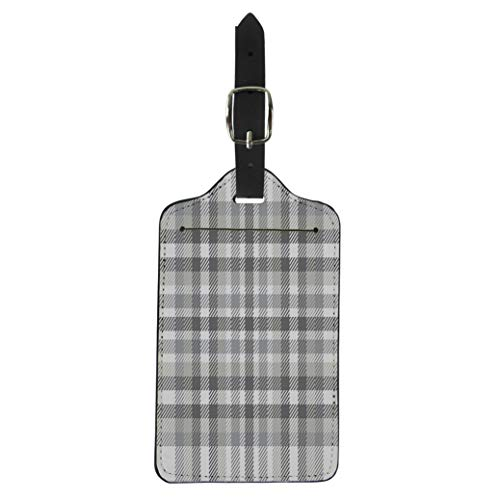 (Pinbeam Luggage Tag Gray Tartan Plaid Pattern Traditional Checkered for Digital Suitcase Baggage Label)