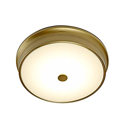 Abbey Frosted White Glass LED Flush Mount with Aged Brass Accent Ring, 83 Bright White LEDs, Dimmable, UL/ETL Listed