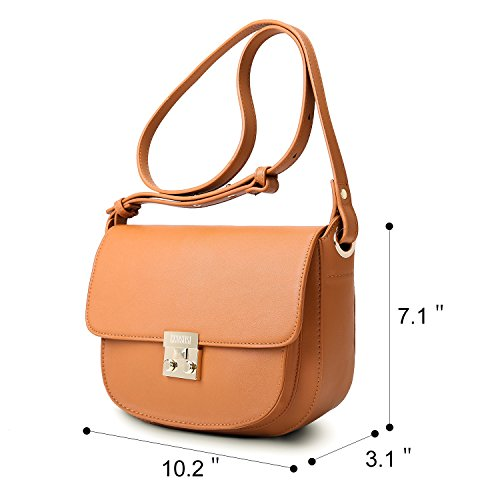 ECOSUSI Women Crossbody Saddle Bags Shoulder Purse with Flap Top & Phone Pocket, Brown by ECOSUSI (Image #7)