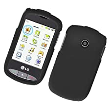 Generic Black Rubberized Protector Case for LG 800G – Retail Packaging – Black