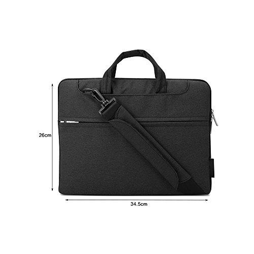 Jia HU 1Leinwand Laptop Aktentasche Portfolio Tasche Tablet Organizer für College Büro Schwarz grau rHYDLV