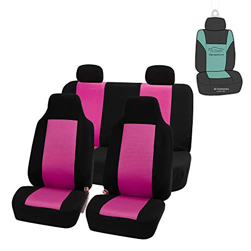FH Group FB102114 Classic Full Set High Back Flat Cloth Car Seat Covers w. Gift, Pink/Black- Fit Most Car, Truck, SUV, or Van