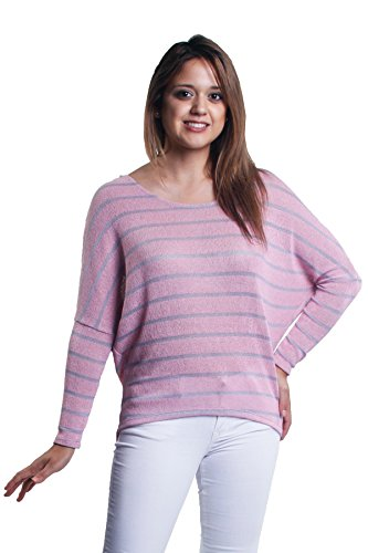 (Jubilee Couture Striped Dolman Sleeve High Low Summer Knit Sweater (Small, Pink/Gray))