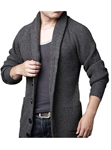 GEEK LIGHTING Men's Cotton Fit Knitted Shawl Collar Cardigan Lapel Chunky Sweaters with Pockets (Grey, XL)