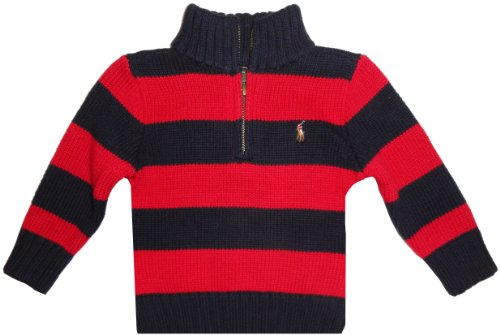 Polo by Ralph Lauren Infant Boy's Long Sleeved Sweater Navy and Red Striped